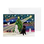 XmasMusic2 / 7 Poodles Greeting Card