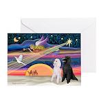 XmasMagic/2 Poodles (ST) Greeting Card