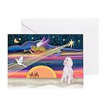 XmasStar/Poodle (ST-W) Greeting Card