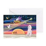 XmasStar/Poodle (ST-W) Greeting Cards (Pk of 20)