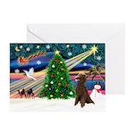 XmasMagic/Poodle (ST-Choc) Greeting Card