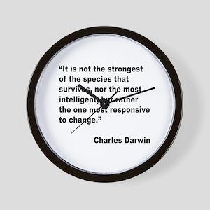 Darwin Survival Quote Wall Clock