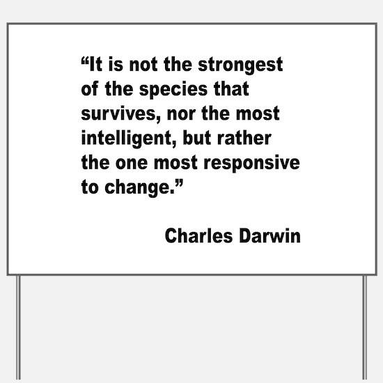 Darwin Survival Quote Yard Sign