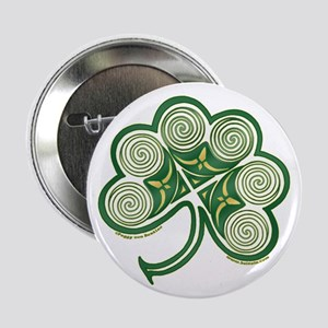 "Irish Shamrock Spiral Design 2.25"" Button"