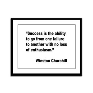 Churchill Success Quote Framed Panel Print