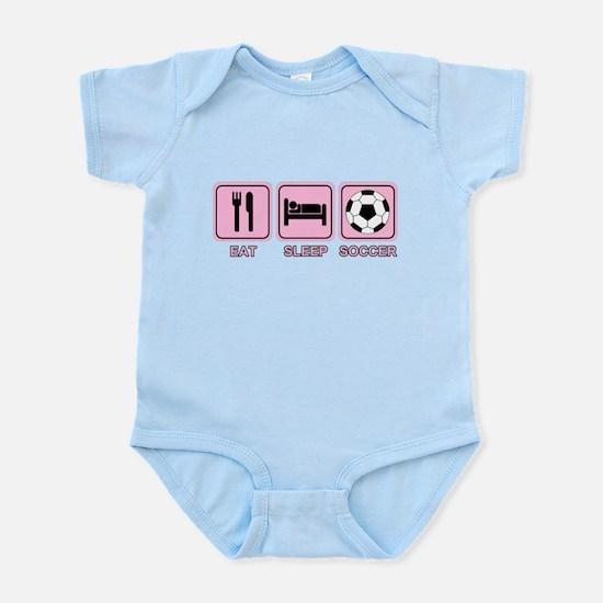EAT SLEEP SOCCER (pink) Infant Bodysuit