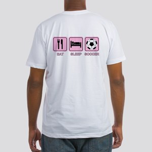 EAT SLEEP SOCCER (pink) Fitted T-Shirt