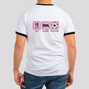 EAT SLEEP SOCCER (pink) Ringer T