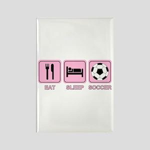 EAT SLEEP SOCCER (pink) Rectangle Magnet
