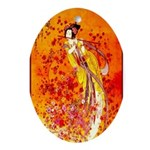 Japanese Geisha Playing the Flute Oval Ornament