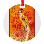 Japanese Geisha Playing the Flute Round Ornament