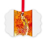 Japanese Geisha Playing the Flute Picture Ornament