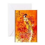 Japanese Geisha Playing the Flute Greeting Cards