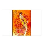 Japanese Geisha Playing the Flute Postcards (Packa