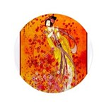 """Japanese Geisha Playing the Flute 3.5"""" Button (100"""