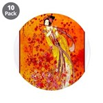 """Japanese Geisha Playing the Flute 3.5"""" Button (10"""