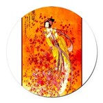 Japanese Geisha Playing the Flute Round Car Magnet