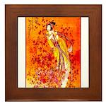 Japanese Geisha Playing the Flute Framed Tile