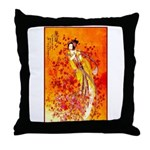Japanese Geisha Playing the Flute Throw Pillow