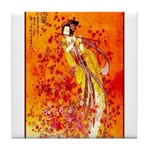 Japanese Geisha Playing the Flute Tile Coaster
