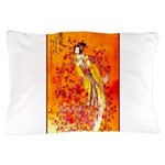 Japanese Geisha Playing the Flute Pillow Case