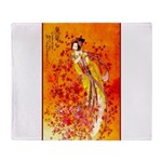 Japanese Geisha Playing the Flute Throw Blanket