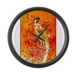 Japanese Geisha Playing the Flute Large Wall Clock