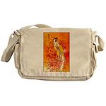 Japanese Geisha Playing the Flute Messenger Bag