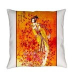 Japanese Geisha Playing the Flute Everyday Pillow