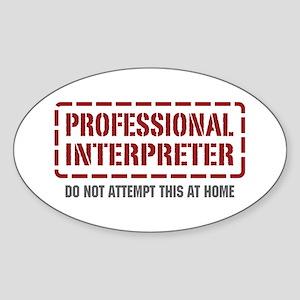 Professional Interpreter Oval Sticker