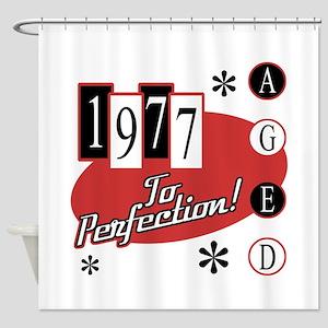 1977 Birthday Mid Century Shower Curtain