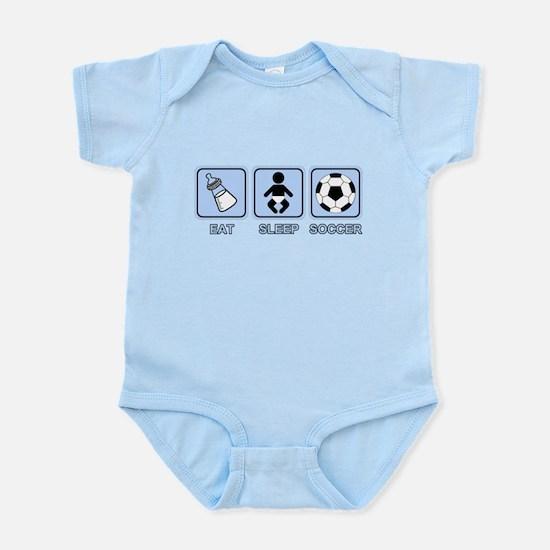 EAT SLEEP SOCCER (baby blue) Infant Bodysuit
