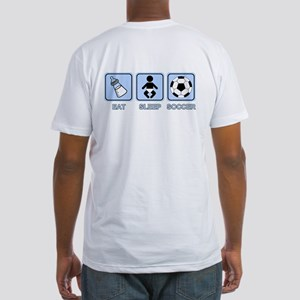 EAT SLEEP SOCCER (baby blue) Fitted T-Shirt