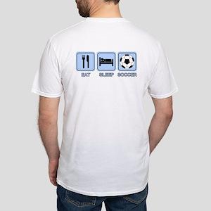EAT SLEEP SOCCER (blue) Fitted T-Shirt