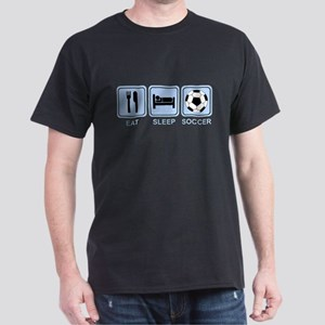EAT SLEEP SOCCER (blue) Dark T-Shirt