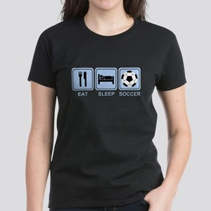 EAT SLEEP SOCCER (blue) Women's Dark T-Shirt