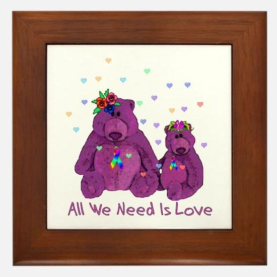 Purple Love Bears Framed Tile