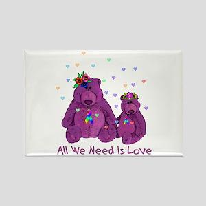 Purple Love Bears Rectangle Magnet
