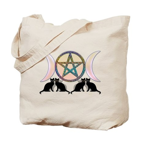 Cats Magic Goddess Pentagram Tote Bag