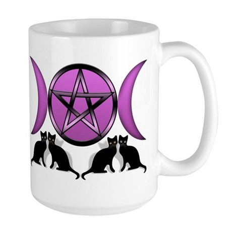 Cat's Pentagram Triple Goddes Large Mug