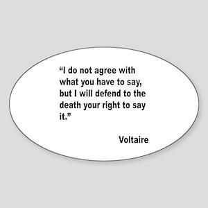 Voltaire Free Speech Quote Oval Sticker