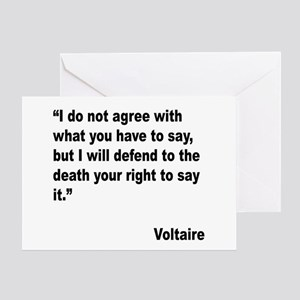 Voltaire Free Speech Quote Greeting Card
