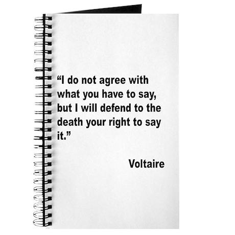 Voltaire Free Speech Quote Journal