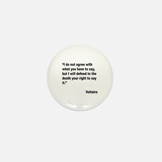Voltaire Free Speech Quote Mini Button