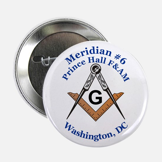 "Meridian #6 Prince Hall F&AM 2.25"" Button"