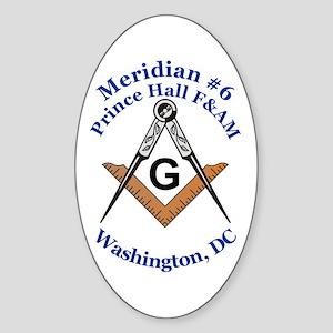 Meridian #6 Prince Hall F&AM Oval Sticker