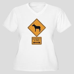 Donkey X-ing Women's Plus Size V-Neck T-Shirt