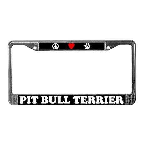 Peace Love Pit Bull License Plate Frame