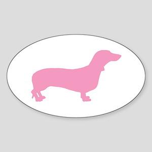 Pink Dachshund Oval Sticker