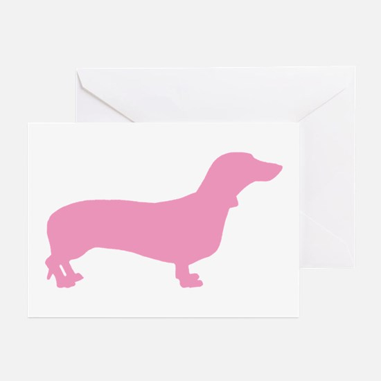Pink Dachshund Greeting Cards (Pk of 10)